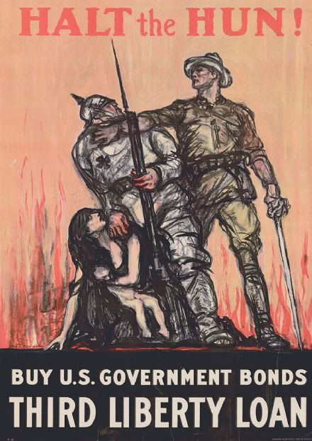 Halt the Hun! Buy U.S. Governemt Bonds. Wartime Print/Poster. Sizes: A4/A3/A2/A1 (001635)